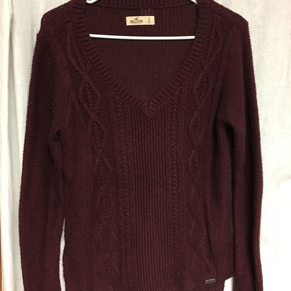 Hollister Sweaters Burgundy Cable Knit Sweater Poshmark